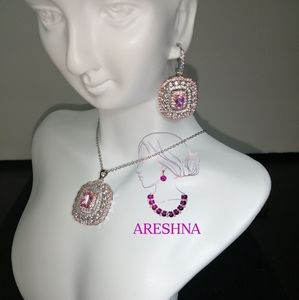 Areshna Jewelry - 925 Pink Swarovski Crystals Luxury Dangle Earrings